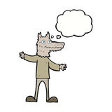 Cartoon wolf man with thought bubble Royalty Free Stock Photography