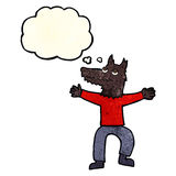 Cartoon wolf man with thought bubble Royalty Free Stock Photo