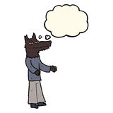 Cartoon wolf man with thought bubble Stock Photography