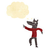 Cartoon wolf man with thought bubble Stock Photos