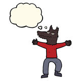 Cartoon wolf man with thought bubble Royalty Free Stock Image