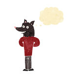 Cartoon wolf man with thought bubble Stock Photo