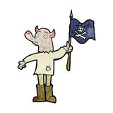 Cartoon wolf man waving pirate flag Royalty Free Stock Photos
