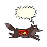 Cartoon wolf with mouse in belly with speech bubble Royalty Free Stock Images