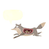Cartoon wolf with mouse in belly with speech bubble Royalty Free Stock Photo