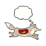 Cartoon wolf with mouse in belly with thought bubble Stock Images