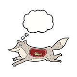 Cartoon wolf with mouse in belly with thought bubble Royalty Free Stock Image