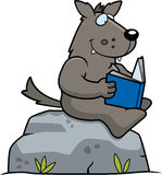 Cartoon Wolf Reading Stock Photos