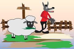 Cartoon with wolf and sheep Royalty Free Stock Photo