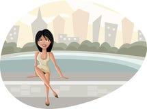 Cartoon woman. Beautiful cartoon woman seated on park bench Stock Photo
