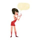 Cartoon woman applying lipstick with speech bubble Royalty Free Stock Image