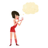 Cartoon woman applying lipstick with thought bubble Stock Photography