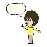 Cartoon woman arguing with speech bubble Royalty Free Stock Photo