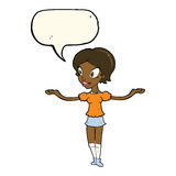Cartoon woman with arms spread wide with speech bubble Stock Image