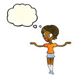 Cartoon woman with arms spread wide with thought bubble Royalty Free Stock Images