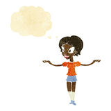 Cartoon woman with arms spread wide with thought bubble Royalty Free Stock Photo