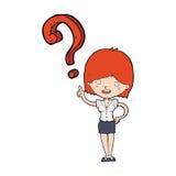 Cartoon woman asking question Royalty Free Stock Photos