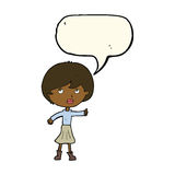 Cartoon woman asking question with speech bubble Royalty Free Stock Image
