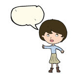 Cartoon woman asking question with speech bubble Stock Photography