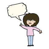 Cartoon woman asking question with speech bubble Stock Image