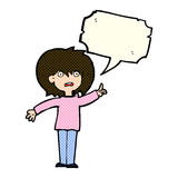 Cartoon woman asking question with speech bubble Royalty Free Stock Photos