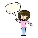 Cartoon woman asking question with speech bubble Royalty Free Stock Images