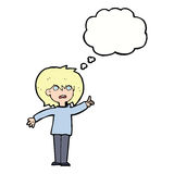 Cartoon woman asking question with thought bubble Royalty Free Stock Photography