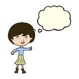 Cartoon woman asking question with thought bubble Royalty Free Stock Photo