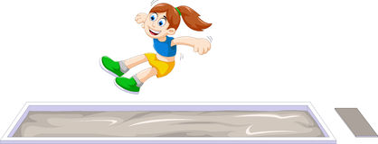 Cartoon woman athlete doing long jump in the competition Royalty Free Stock Photography