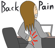 Cartoon woman back pain Stock Photos