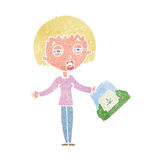Cartoon woman with bag of weed Stock Images