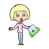 cartoon woman with bag of weed Royalty Free Stock Photo