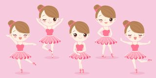 Cartoon woman with ballet. On the pink background Royalty Free Stock Image