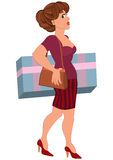Cartoon woman with big box in striped skirt Royalty Free Stock Images