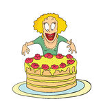 Cartoon woman and a big cake, Sweet tooth. Vector illustration on white background. Royalty Free Stock Photos