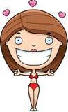 Cartoon Woman Bikini Hug Royalty Free Stock Images