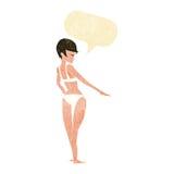 Cartoon woman in bikini with speech bubble Royalty Free Stock Image