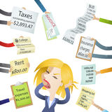 Cartoon woman bills stress payment demands. Vector illustration of a cartoon character: Frustrated woman hassled by creditors holding bills, signs, payment Royalty Free Stock Images