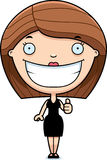 Cartoon Woman Black Dress Thumbs Up Royalty Free Stock Photo