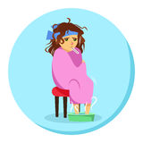 Cartoon woman in blanket feeling ill with thermometer in his mouth Stock Photo
