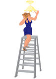 Cartoon woman in blue dress on the ladder fixing light Stock Photography