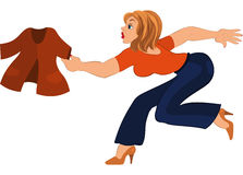 Cartoon woman in blue pants running after jacket Royalty Free Stock Photo