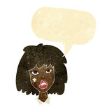 Cartoon woman with bruised face with speech bubble Royalty Free Stock Photography