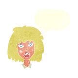 Cartoon woman with bruised face with speech bubble Stock Image