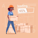 Cartoon Woman Builder Carry Boxes Over Abstract Plan Background Female African American Stock Image