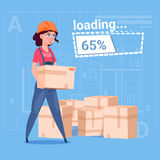 Cartoon Woman Builder Carry Boxes Over Abstract Plan Background Female Workman Royalty Free Stock Images