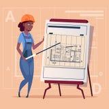 Cartoon Woman Builder Explain Plan Of Building Blueprint Wearing Uniform And Helmet Construction Worker Contractor. African American Flat Vector Illustration Stock Photos