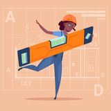 Cartoon Woman Builder Holding Carpenter Level Wearing Uniform And Helmet African American Construction Worker Over. Abstract Plan Background Flat Vector Stock Image