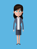 Cartoon woman business gray suit employee Royalty Free Stock Image