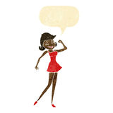 cartoon woman with can do attitude with speech bubble Royalty Free Stock Image
